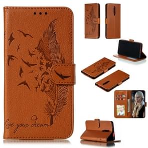 Feather Pattern Litchi Texture Horizontal Flip Leather Case with Wallet & Holder & Card Slots For Xiaomi Redmi K20(Brown)