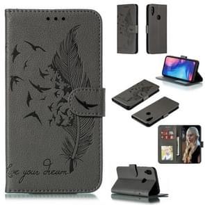 Feather patroon Litchi textuur horizontale Flip lederen draagtas met portemonnee & houder & kaartsleuven voor Xiaomi Redmi Note 7 (grijs)