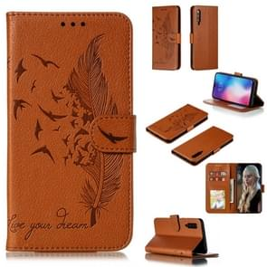 Feather Pattern Litchi Texture Horizontal Flip Leather Case with Wallet & Holder & Card Slots For Xiaomi Mi 9(Brown)