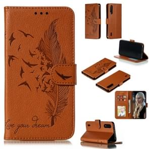 Feather Pattern Litchi Texture Horizontal Flip Leather Case with Wallet & Holder & Card Slots For Xiaomi Mi CC9(Brown)