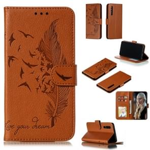 Feather Pattern Litchi Texture Horizontal Flip Leather Case with Wallet & Holder & Card Slots For Huawei P30(Brown)