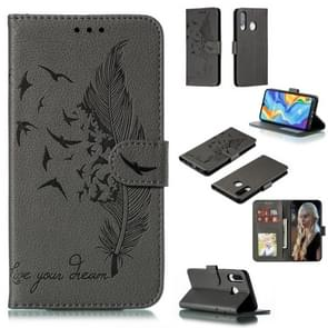 Feather Pattern Litchi Texture Horizontal Flip Leather Case with Wallet & Holder & Card Slots For Huawei P30 Lite(Gray)