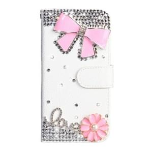 Strass patroon horizontale Flip lederen draagtas met houder & kaartsleuven & portemonnee & Lanyard voor Xiaomi Redmi Note 7 (Pink Bow)