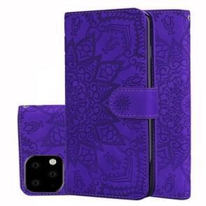 Kalf patroon dubbele vouwen ontwerp reliëf lederen draagtas met portemonnee & houder & kaartsleuven voor iPhone XI 2019 (5 8 inch) (paars)