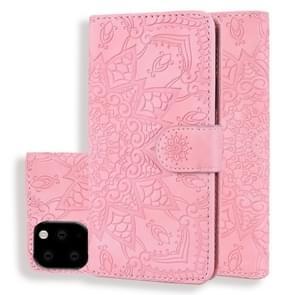 Kalf patroon dubbele vouwen ontwerp reliëf lederen draagtas met portemonnee & houder & kaartsleuven voor iPhone XI Max 2019 (6 5 inch) (roze)