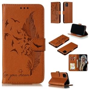Feather Pattern Litchi Texture Horizontal Flip Leather Case with Wallet & Holder & Card Slots For iPhone 11(Brown)