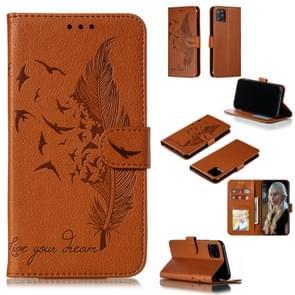 Feather patroon Litchi textuur horizontale Flip lederen draagtas met portemonnee & houder & card slots voor iPhone XI Max (2019) (bruin)