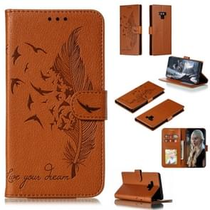 Feather Pattern Litchi Texture Horizontal Flip Leather Case with Wallet & Holder & Card Slots For Galaxy Note9(Brown)