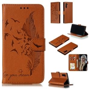 Feather Pattern Litchi Texture Horizontal Flip Leather Case with Wallet & Holder & Card Slots For Galaxy Note 10(Brown)