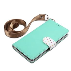 Wave Point Horizontal Flip Leather Case with Card Slots & Holder & Wallet & Lanyard for Galaxy Note 10+(Mint Green)