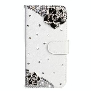 Rhinestone Pattern Horizontal Flip Leather Case with Holder & Card Slots & Wallet & Lanyard For Huawei P30(Black Flower)