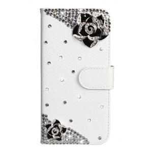 Rhinestone Pattern Horizontal Flip Leather Case with Holder & Card Slots & Wallet & Lanyard For Huawei P30 Lite(Black Flower)