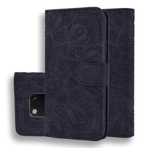 Calf Pattern Double Folding Design Embossed Leather Case with Wallet & Holder & Card Slots for Huawei Mate 20 Pro(Black)