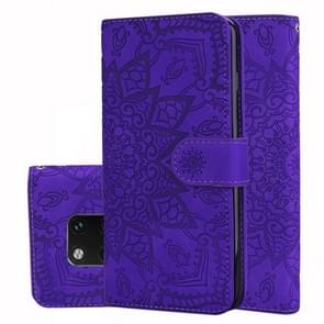 Calf Pattern Double Folding Design Embossed Leather Case with Wallet & Holder & Card Slots for Huawei Mate 20 Pro(Purple)