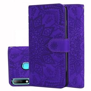 Calf Pattern Double Folding Design Embossed Leather Case with Wallet & Holder & Card Slots for Huawei P30 Lite(Purple)