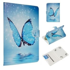 For 7 inch Universal Tablet PC Colored Drawing Pattern Horizontal Flip PU Leather Case with Holder & Card Slots(Blue Butterfly)