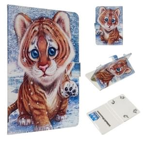 For 8 inch Universal Tablet PC Colored Drawing Pattern Horizontal Flip PU Leather Case with Holder & Card Slots(Tiger)