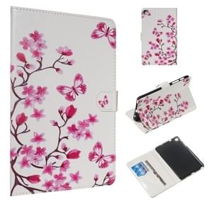 For Galaxy Tab A 8.0 & S Pen (2019) / P205 Colored Drawing Pattern Horizontal Flip PU Leather Case with Holder & Card Slots(Butterfly Love Flower)