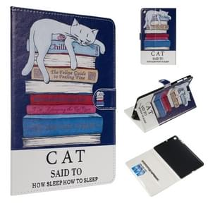 For Galaxy Tab A 10.1 (2019) / T510 Colored Drawing Pattern Horizontal Flip PU Leather Case with Holder & Card Slots(Book and  Cat)