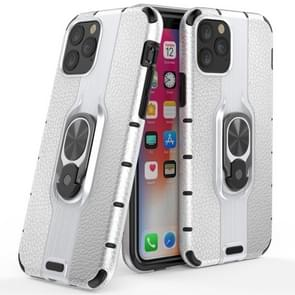 Litchi Texture PC + TPU Combination Case with Magnetic Ring Holder For iPhone 11 Pro Max(Silver)
