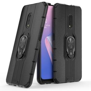 Litchi Texture PC + TPU Combination Case with Magnetic Ring Holder For Oppo K3 / Realme X(Black)
