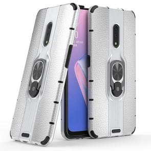 Litchi Texture PC + TPU Combination Case with Magnetic Ring Holder For Oppo K3 / Realme X(Silver)