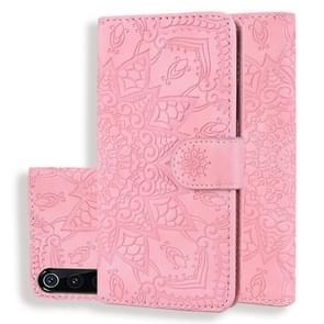 Kalf patroon dubbele vouwen ontwerp reliëf lederen draagtas met portemonnee & houder & kaartsleuven voor Xiaomi mi 9 (roze)