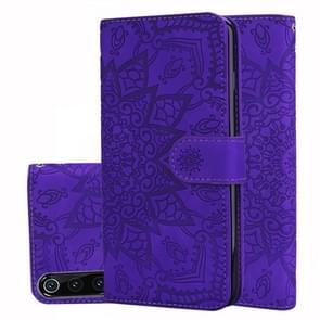 Calf Pattern Double Folding Design Embossed Leather Case with Wallet & Holder & Card Slots for Xiaomi Mi 9(Purple)
