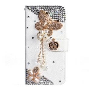 Rhinestone Pattern Horizontal Flip Leather Case with Holder & Card Slots & Wallet & Lanyard For Galaxy Note 10+(Pearl Butterfly)