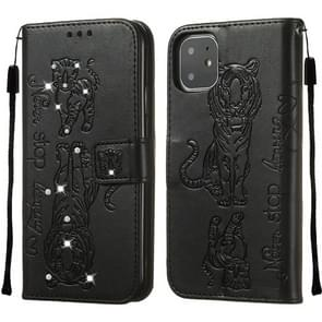 For iPhone 11 Diamond Encrusted Pressed Printing Cat and Tiger Pattern Horizontal Flip PU Leather Case with Holder & Card Slots & Wallet(Black)