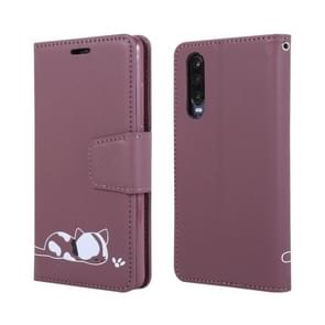Embroidered kitten Horizontal Flip Leather Case With Holder & Card Slots & Wallet for Huawei P30(Purple)
