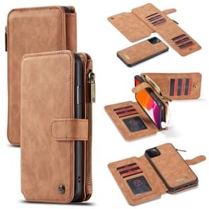CaseMe-007 Detachable Multifunctional Horizontal Flip Leather Case with Card Slot & Holder & Zipper Wallet & Photo Frame For iPhone 11 Pro Max(Brown)