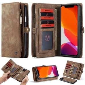 CaseMe-008 Detachable Multifunctional Horizontal Flip Leather Case with Card Slot & Holder & Zipper Wallet & Photo Frame For iPhone 11 Pro(Brown)