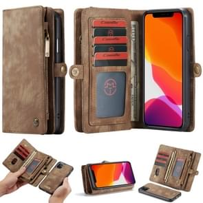 CaseMe-008 Detachable Multifunctional Horizontal Flip Leather Case with Card Slot & Holder & Zipper Wallet & Photo Frame For iPhone 11(Brown)