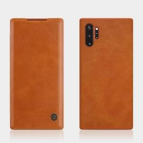 NILLKIN QIN Series Crazy Horse Texture Horizontal Flip Leather Case with Card Slot for Galaxy Note 10+ / Note 10+ 5G(Brown)