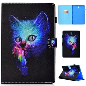 for Galaxy Tab S4 10.5 T830 Colored Drawing Stitching Horizontal Flip Leather Case, with Holder & Card Slots(Super Cat)