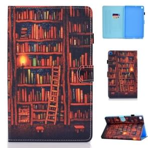 for Galaxy Tab A 8.0 (2019) P200 Colored Drawing Stitching Horizontal Flip Leather Case, with Holder & Card Slots(Bookshelf)