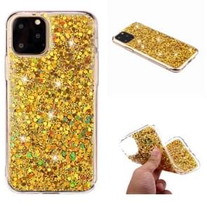 For iPhone 11 Pro Max (6.5 inch) Glitter Powder Soft TPU Protective Case(Gold)