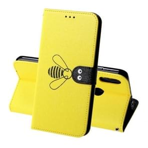 For Xiaomi Redmi Note 7 Silk Texture Bee Pattern Horizontal Flip Leather Case with Holder & Card slots & Wallet & Photo Frame(Yellow)
