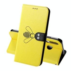 For Huawei P30 Lite Silk Texture Bee Pattern Horizontal Flip Leather Case with Holder & Card slots & Wallet & Photo Frame(Yellow)
