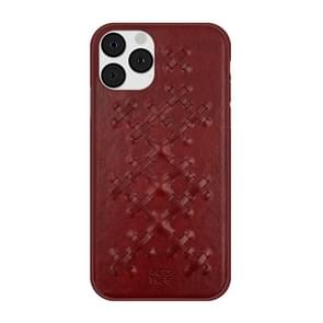 For iPhone 11 Pro Max (6.5 inch) RAIGOR INVERSE WEAVE Series PU+TPU+PC Solid Color Protective Case(Red)
