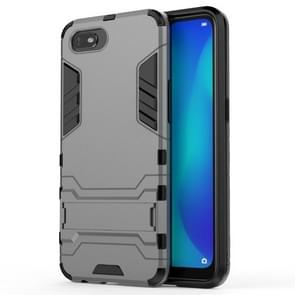 For OPPO A1k / Realme C2 Shockproof PC + TPU Protective Case with Invisible Holder(Grey)