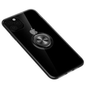 Voor iPhone XI Max (2019) ultradunne TPU beschermhoes met 360 graden rotatie houder (zwart)