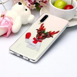 For Huawei P30 Coloured Drawing Pattern IMD Workmanship Soft TPU Protective Case(Glove Deer)