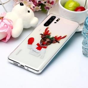For Huawei P30 Pro Coloured Drawing Pattern IMD Workmanship Soft TPU Protective Case(Glove Deer)