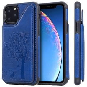 For iPhone 11 Pro Cat Tree Embossing Pattern Shockproof Protective Case with Card Slots & Photo Frame(Blue)