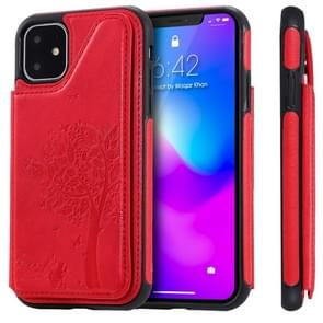 For iPhone 11 Cat Tree Embossing Pattern Shockproof Protective Case with Card Slots & Photo Frame(Red)