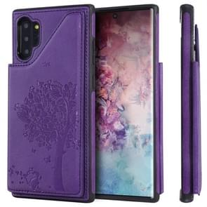 For Galaxy Note 10+ Cat Tree Embossing Pattern Shockproof Protective Case with Card Slots & Photo Frame(Purple)