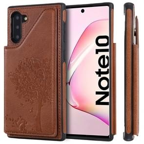 For Galaxy Note 10 Cat Tree Embossing Pattern Shockproof Protective Case with Card Slots & Photo Frame(Brown)