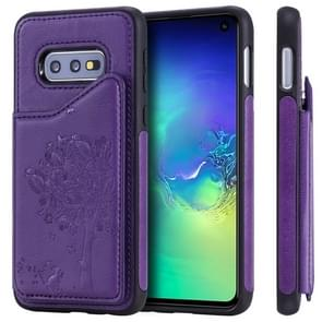For Galaxy S10e Cat Tree Embossing Pattern Shockproof Protective Case with Card Slots & Photo Frame(Purple)